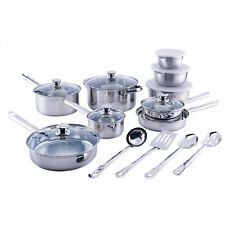 Stainless Steel Cookware Set 10 Pc. Classic Pans Ceramic Casserole Home Kitchen