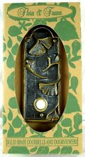 Flora & Fauna Solid Brass Doorbell Plate. Boxed New Lovely Floral Design Ginkgo