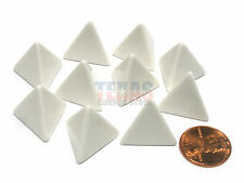 Set of 10 Opaque 4-Sided D4 White 18mm Blank Dice