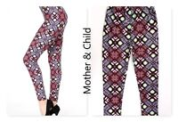 Plus Size Leggings Buttery Soft  Ethnic Print  Mommy & Me Set Os Fit 14 - 16