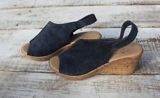 Mila Paoli Women's Sz 7 LEATHER ITALY Blue Suede Cork High Heel Sandals Shoes
