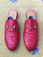 Gucci Women Shoes Red Princetown Loafer Slipper UK 5.5 US 8.5 38.5 Mule Ladies