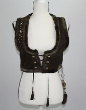 NEW Betsey Johnson Women's Vest S/M Brown Sheepskin Shearling Crop Studded