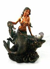 6 Inch Mermaid with SeaHorse Figurine Nautical Ocean Decor Statue Sculpture