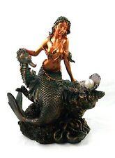 6 Inch Mermaid with SeaHorse Figurine Nautical Ocean Decor Statue Sculpture