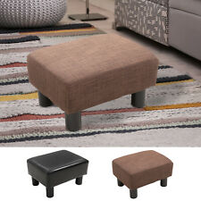 Footstool Ottoman Footrest PU Leather/Linen Fabric w/ Plastic Legs Brown Home