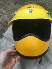 "Vintage 1976 Bell Moto Star Helmet Motocross Yellow  With Visor 7 1/8"" RARE LOOK"