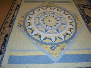 Nice Blue & Yellow Sun Burst Pattern Quilt