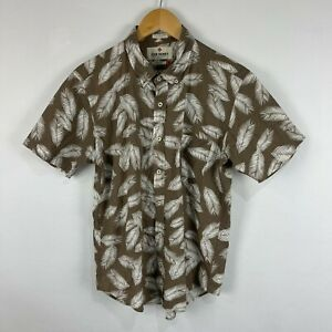 John Henry Mens Button Up Shirt Size L Large Short Sleeve Brown Collared 68.05