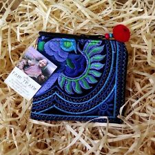 EMBROIDERED POM POM COIN PURSE PEACOCK BLUE