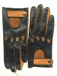 Napa Leather Black & Brown Handmade Driving Gloves for Women's