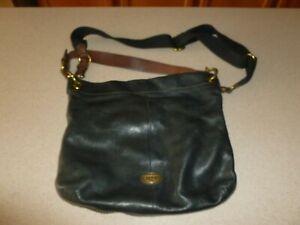 Fossil Black Leather Bag CrossBody Messenger Purse Handbag Hobo Satchel Soft