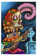 Bonita by Dave Sanchez Tattoo Art Print Day of the Dead Sugar Skull Skeleton