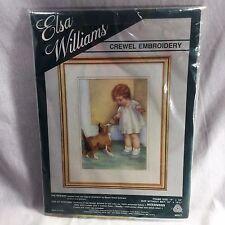 "Elsa Williams Crewel Embroidery The Reward 00317 Gutmann Child Dog 10x13.5"""