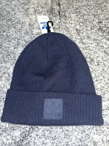 Adidas originals rib style beanie women's fit Navy Blue w/patched logo new
