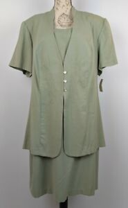 White Stag Plus Dress Pale Green Calf Length Layered Look Short Sleeves 22W 24W
