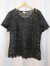 Vtg Metallic Black Guipure Venetian lace Top Blouse Short Sleeve Women's Sz L XL