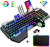 Wireless Gaming Keyboard Mouse Sets RGB LED Backlit 4800mAh for Laptop PC PS4 US