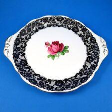 "Rare Royal Albert "" Senorita "" Black Lace with Rose Cake Plate 10 3/4"""