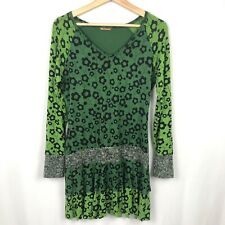 Smash Wear Tunic Top Floral Cotton Sweater Hem Green Spring Size XL Hippie