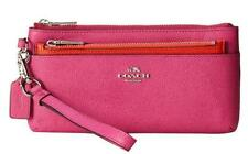 NWT Coach Large Embossed textured Leather Wristlet & Pop Up Pouch, Fuschia 52334