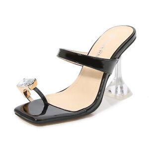 Women'ssquare Toe Ring Sandals Mules Slip On Open Toe Kitten Heels Slippers 8