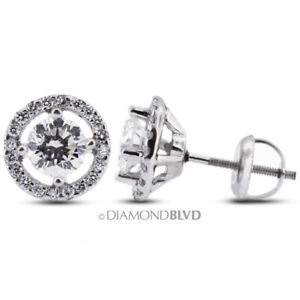 1.28ct tw F SI2 Round Cut Natural Certified Diamonds 14K Gold Halo Fine Earrings