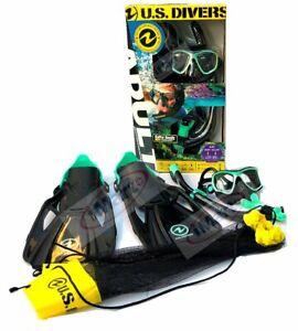 NEW US Divers Adult Snorkeling Set Mask+Snorkel+Fins GoPro Ready S/M Green