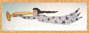 """Signed HOWARD FINSTER Folk Art ANGEL Print - Unframed MINT 27.25""""x9.25"""" - White"""