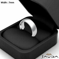 18k Gold White 7mm Men's Plain Comfort Dome Wedding Band Solid Ring 11.5g 8-8.75