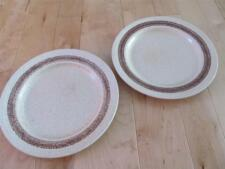 HOMESPUN COTTAGE CHURCHILL TWO DINNER PLATES ENGLAND CREAM BROWN SPECKLE