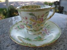 Sutherland Hand Decorated Tea Cup Saucer Pink Yellow Green Spring Flowers 2472