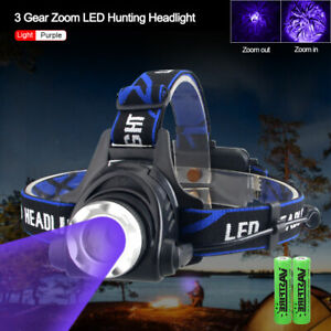Powerful Fluorescence Head Light Zoom 395nm UV Ultraviolet Black Light Headlamp