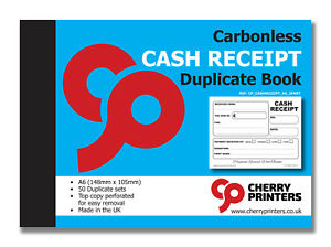 Cherry NCR Cash Receipt Duplicate Book A6 (148mm x 105mm) 50 Sets