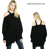 Haute BOHO Black Open Cold Shoulder Oversized Chunky Knit Tunic Sweater S M L XL