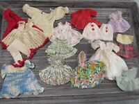 """Lot Vintage Small Baby Doll Clothes Dresses Cotton and Crocheted 3"""" 6"""" 16 pieces"""