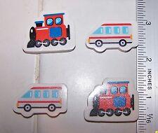 4 Count VEHICLE Automotive TRAIN & Bus ERASERS