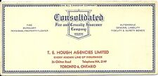 Vintage Ink Blotter Consolidated Insurance Hough Agency Toronto  ON Canada