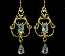 E040 Genuine 9ct Yellow Gold NATURAL Topaz FILIGREE Chandelier Drop Earrings