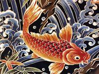 RPFTP017D Japanese Koi Fish Water Sea Ocean Wave Asia Japan Cotton Quilt Fabric