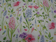 Sanderson Curtain Fabric 'Spring Flowers' 3.6 METRES (360cm) Pink/Blue Linen Mix
