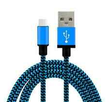Strong Braided Nylon USB C Type C Data Sync Charger Charging Cable for HTC U11 Sky Blue