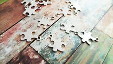 50 BULK Charms Puzzle Piece Charms Antiqued Silver Stamping Blanks 50pcs