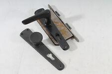 altes Türschloß mit Türknauf und Klinke Beschlag Bakelit Industriedesign schwarz