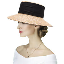 Elegant Casablanca Style Womens Wide Brim Maize Straw Derby Summer Sun Hat  A492