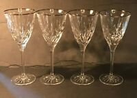 "Glass Wine Water Goblet Clear Crystal- set of 4- Dimensions 8.25 "" x 3.5"""