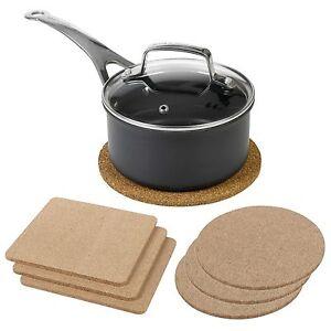 3pc Natural Cork Pot Pan Heat Resistant Coasters Pads Kitchen Surface Protection