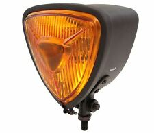 Triangle Bottom Mount Halogen Motorcycle Headlight - Matte Black w/ Amber Lens
