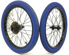 "18"" Bicycle Wheel Set, Black,  6-Speed Freewheel and 1.95"" Blue Tire Bike  #F41"