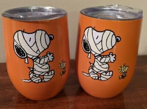 New Peanuts Snoopy Mummy Halloween Stemless Wine Tumbler Cups With Lids 2pc